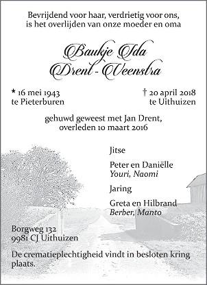Baukje Ida Drent - Veenstra Death notice