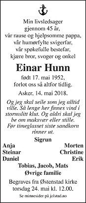 Einar Hunn Dødsannonse