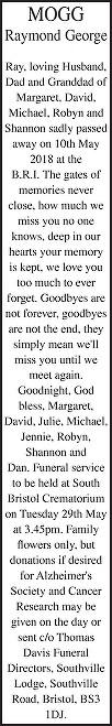 Raymond George Mogg Death notice