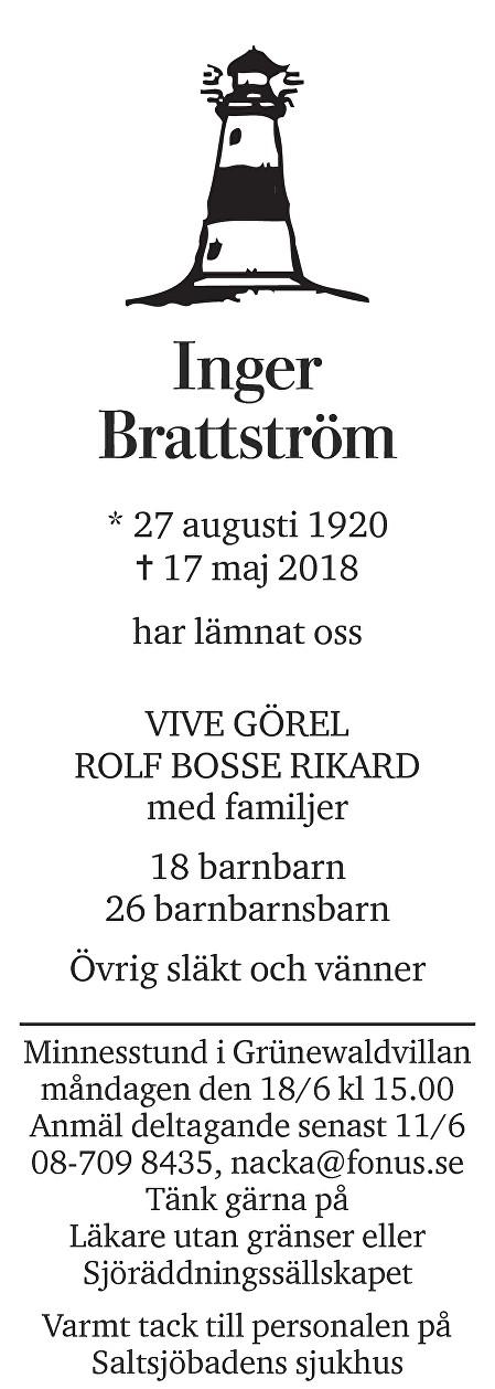 Inger Brattström Death notice