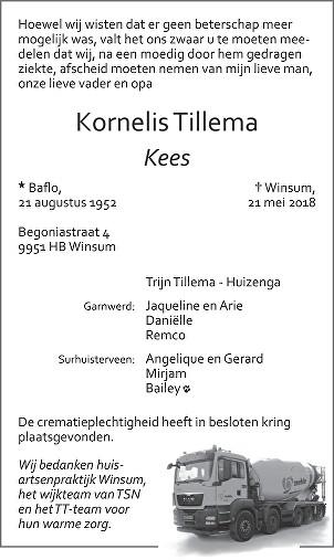 Kornelis Tillema Death notice