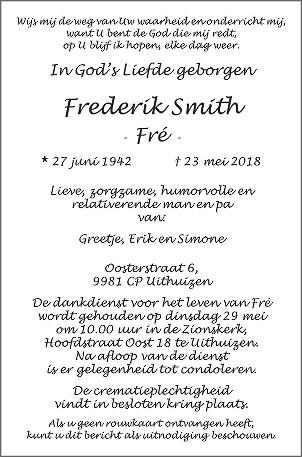 Frederik  Smith Death notice