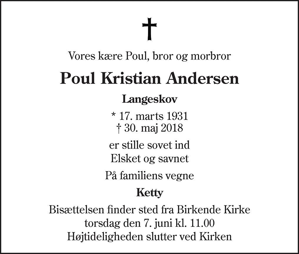 Poul Kristian  Andersen Death notice
