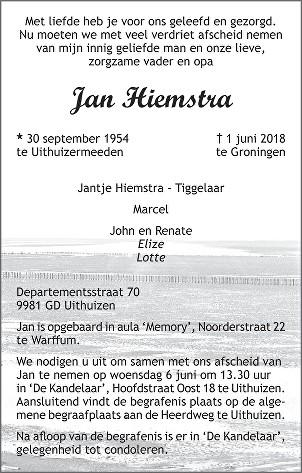 Jan Hiemstra Death notice