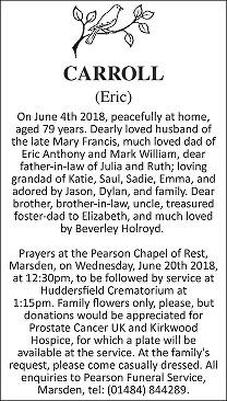Eric Carroll Death notice