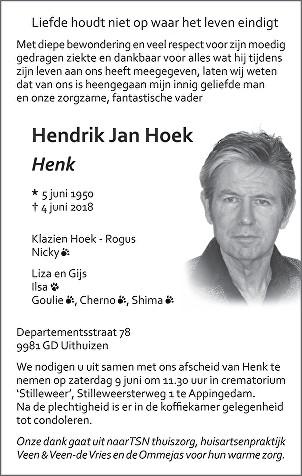 Hendrik Jan (Henk) Hoek Death notice