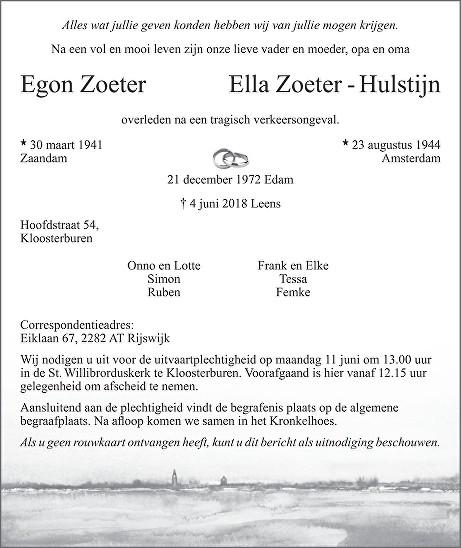 Egon Zoeter en Ella Zoeter - Hulstijn Death notice
