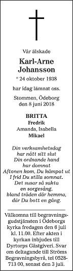 Karl-Arne Johansson Death notice