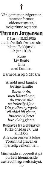 Torunn Jørgensen Dødsannonse