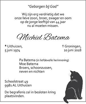 Michiel Batema Death notice