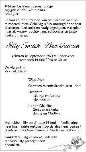 Elly Smith - Broekhuizen Death notice