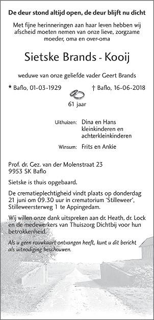Sietske Brands - Kooij Death notice