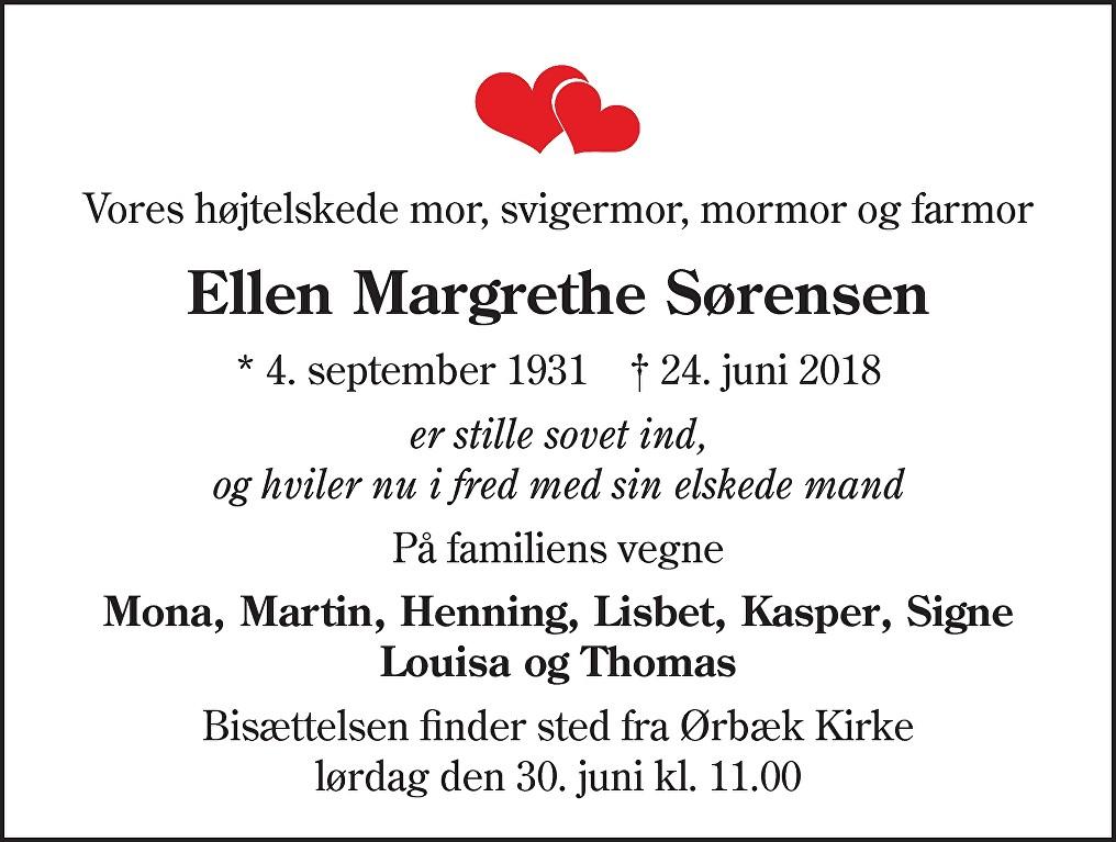 Ellen Margrethe  Sørensen Death notice