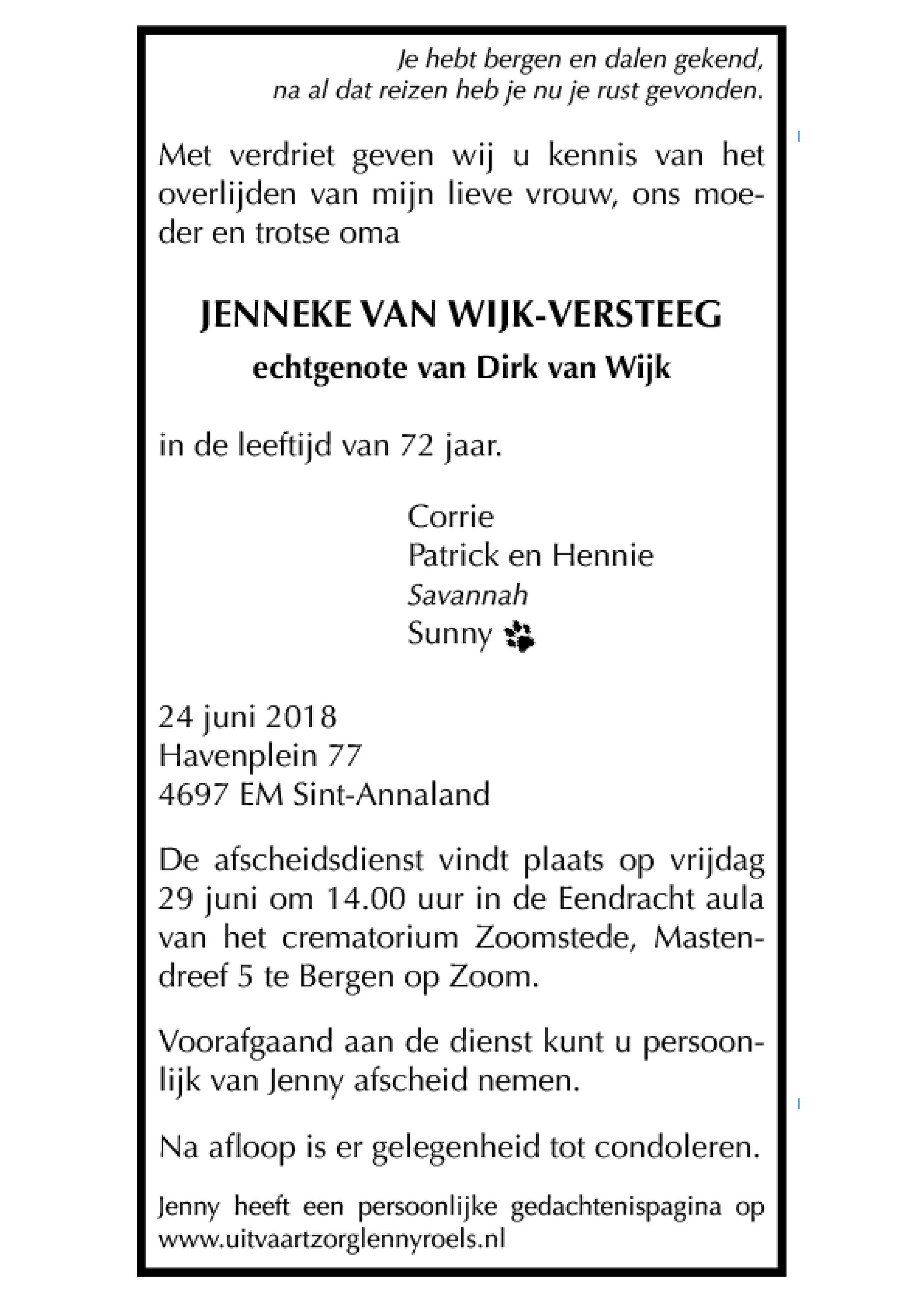 Jenny van Wijk-Versteeg Death notice