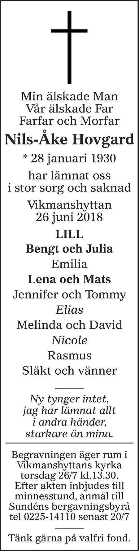 Nils-Åke Hovgard Death notice