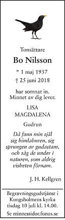 Bo Nilsson Dödsannons