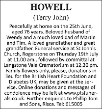 Terry John Howell Death notice