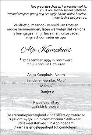 Alje Kamphuis Death notice