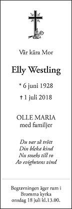 Elly Westling Death notice