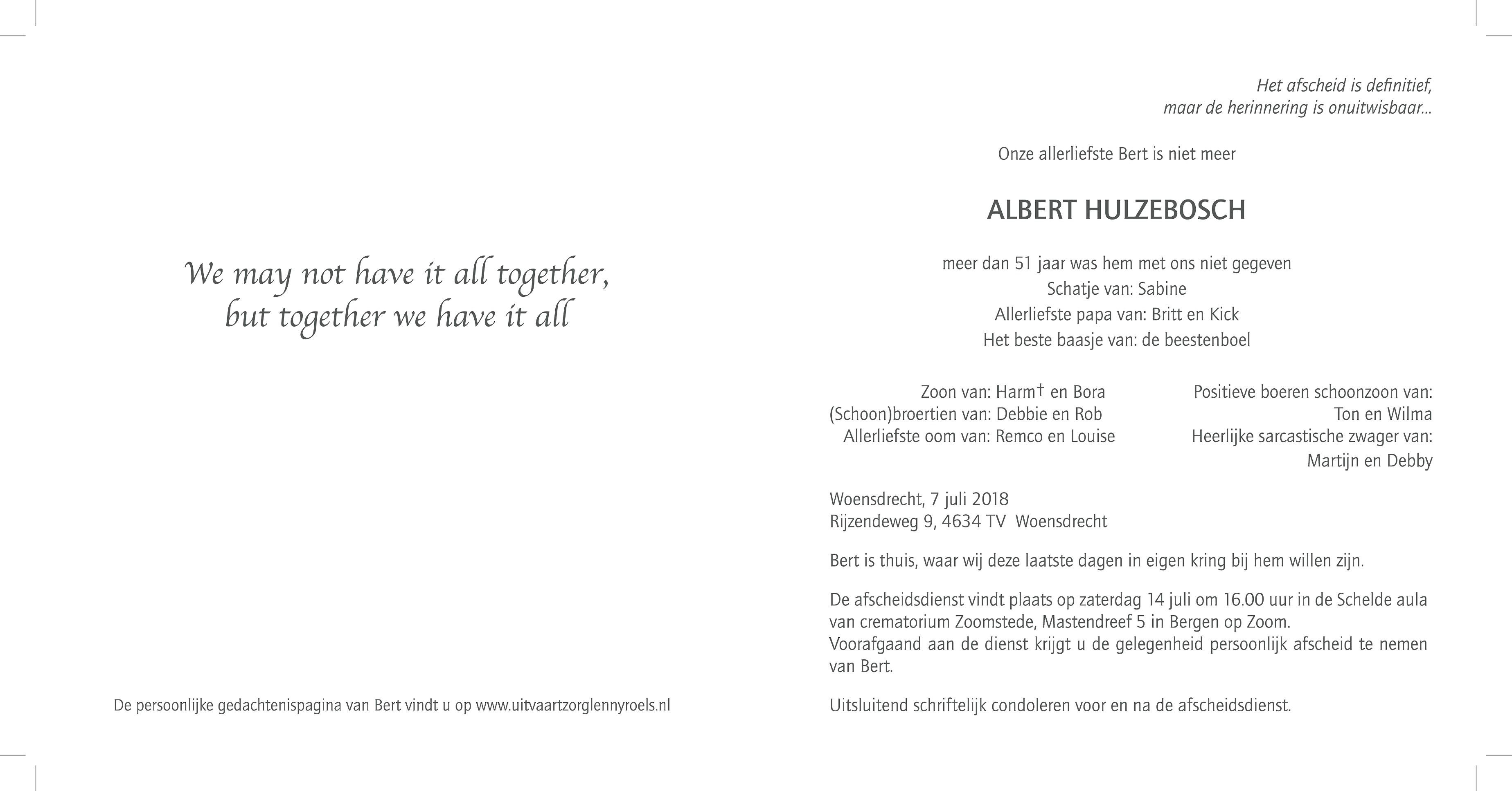 Bert Hulzebosch Death notice