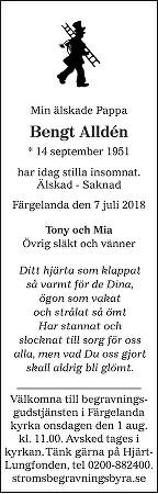 Bengt Alldén Death notice
