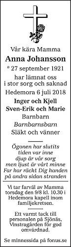 Anna Johansson Dödsannons