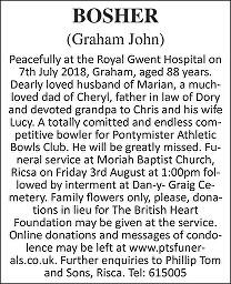 Graham John Bosher Death notice