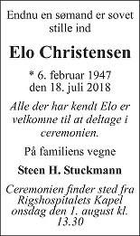 Elo  Christensen Death notice