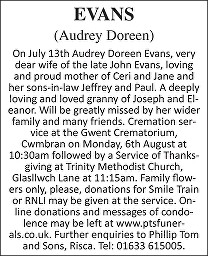 Audrey Doreen Evans Death notice