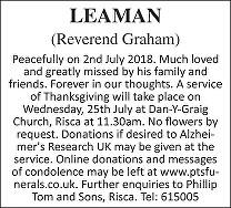 Graham Leaman Death notice
