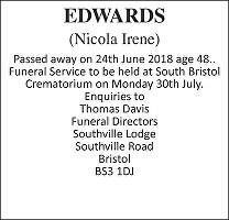 Nicola Irene Edwards Death notice