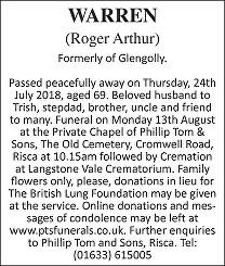 Roger Arthur Warren Death notice