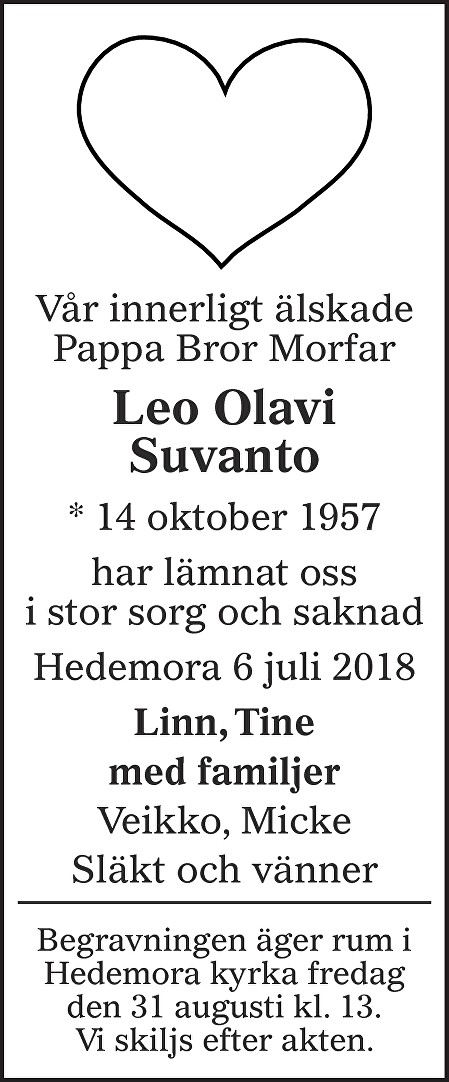 Leo Olavi Suvanto Death notice
