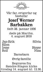 Josef Werner Barbakken Dødsannonse