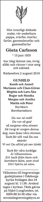 Gösta Carlsson Death notice