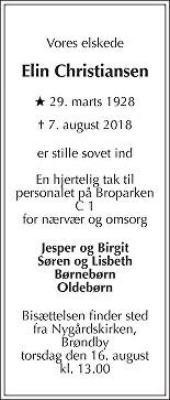 Elin Birte  Christiansen Death notice