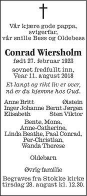 Conrad Wiersholm Dødsannonse