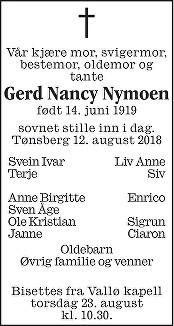 Gerd Nancy Nymoen Dødsannonse