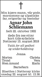 Agnar John Schliemann Dødsannonse