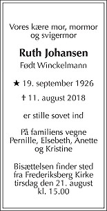 Ruth  Johansen Death notice