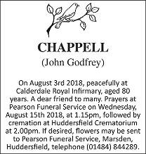 John Godfrey Chappell Death notice