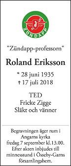Roland Eriksson Death notice