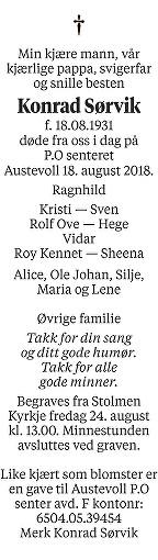 Konrad Sørvik Dødsannonse