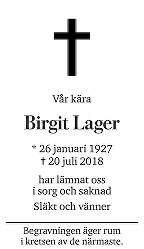 Birgit Lager Death notice