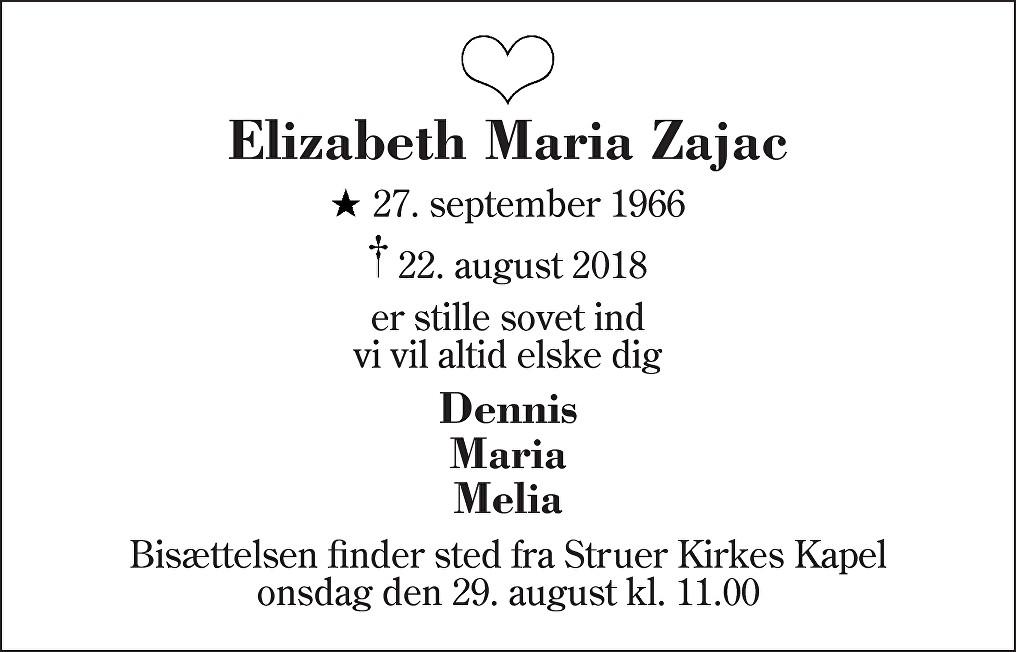 Elizabeth Maria  Zajac Death notice