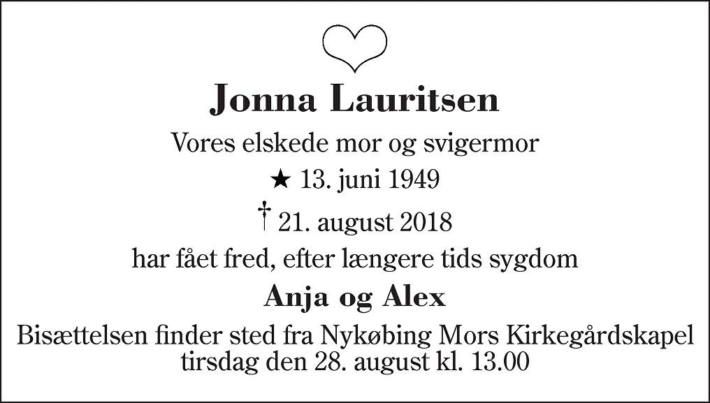 Jonna  Lauritsen Death notice