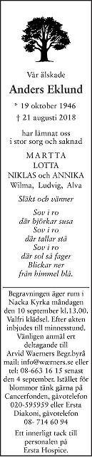 Jan Anders Eklund Death notice