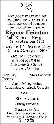 Rigmor Augusta Heimtun Dødsannonse