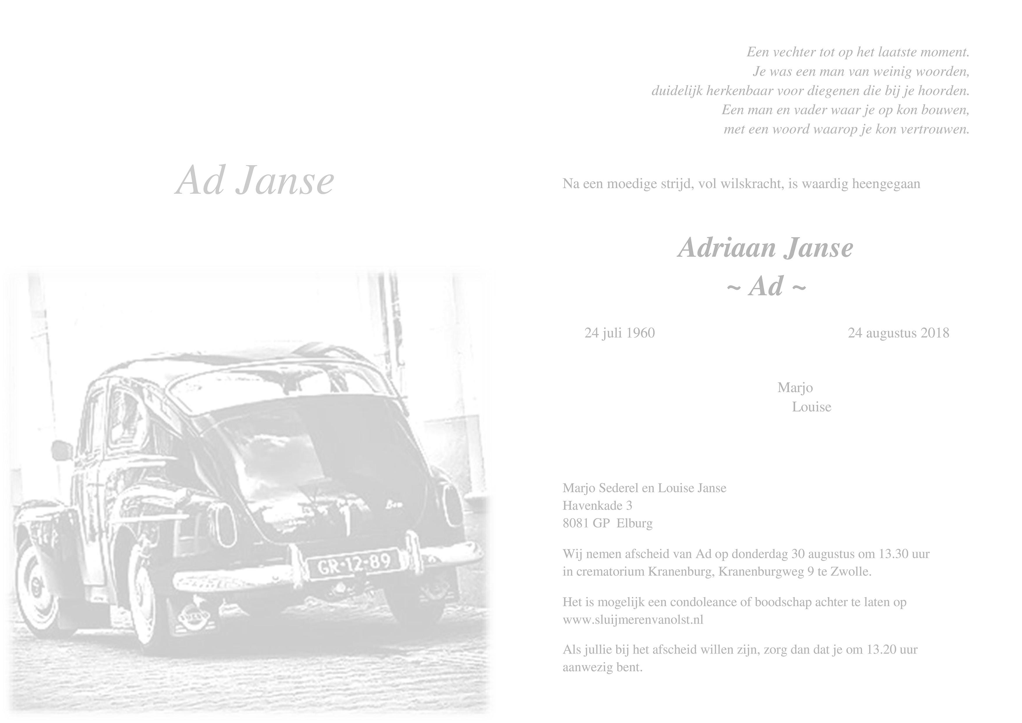 Ad Janse Death notice