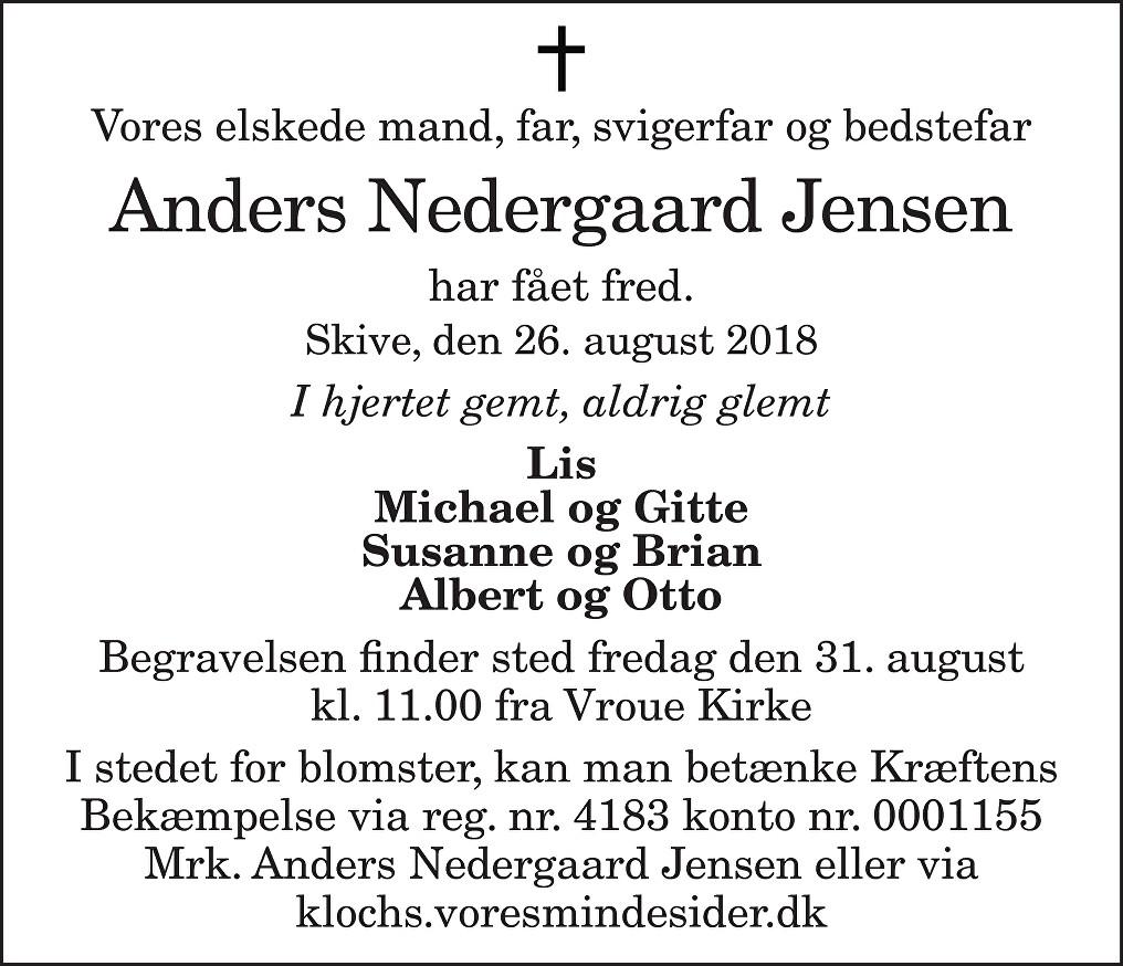 Anders Nedergaard  Jensen Death notice